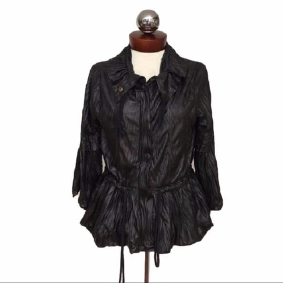 Ryu Jackets & Blazers - RYU crinkle coated shine jacket drawstring M